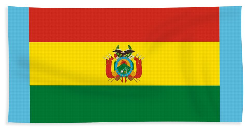 Banner Hand Towel featuring the digital art Bolivia Flag by Frederick Holiday