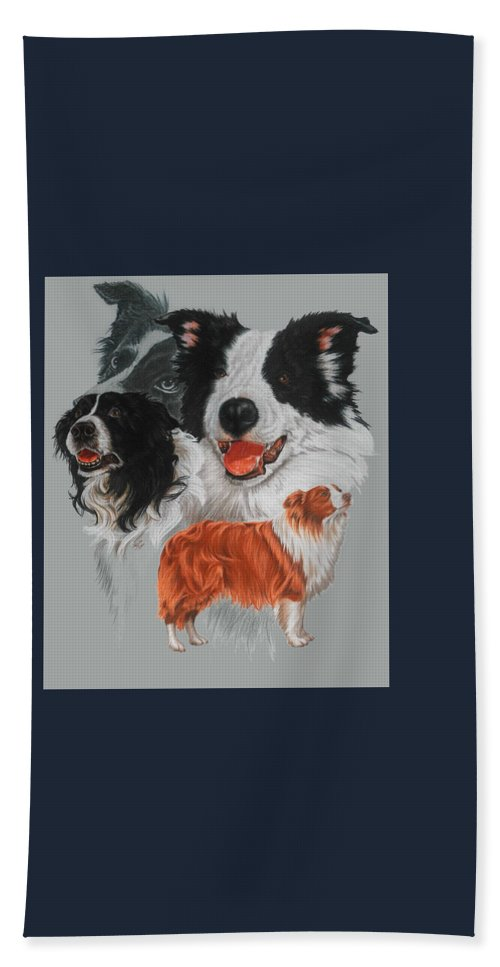 Herding Group Hand Towel featuring the drawing Border Collie by Barbara Keith