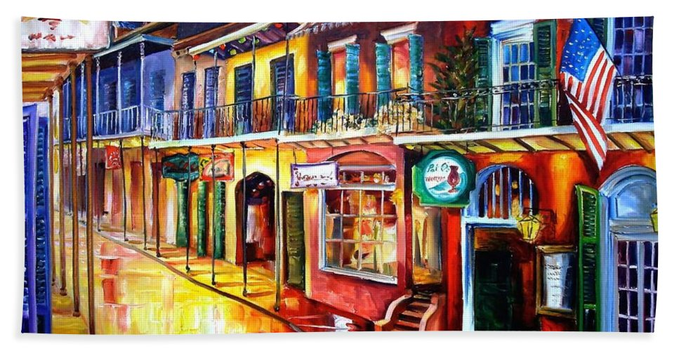 New Orleans Bath Towel featuring the painting Bourbon Street Red by Diane Millsap