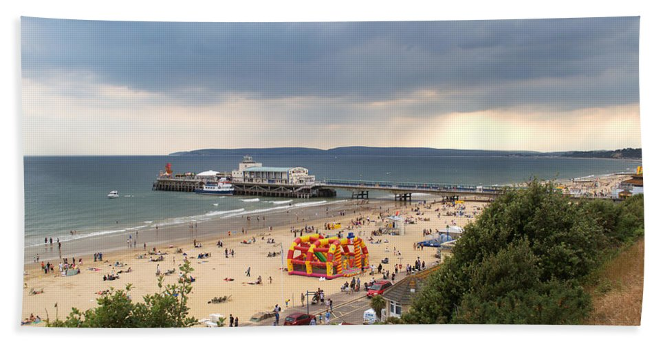 Bournemouth Bath Sheet featuring the photograph Bournemouth Pier And Beach by Chris Day