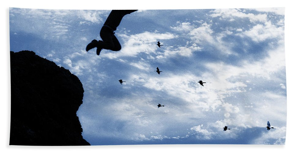 Dirt Hand Towel featuring the photograph Boy Jumping With Birds by Donald Erickson