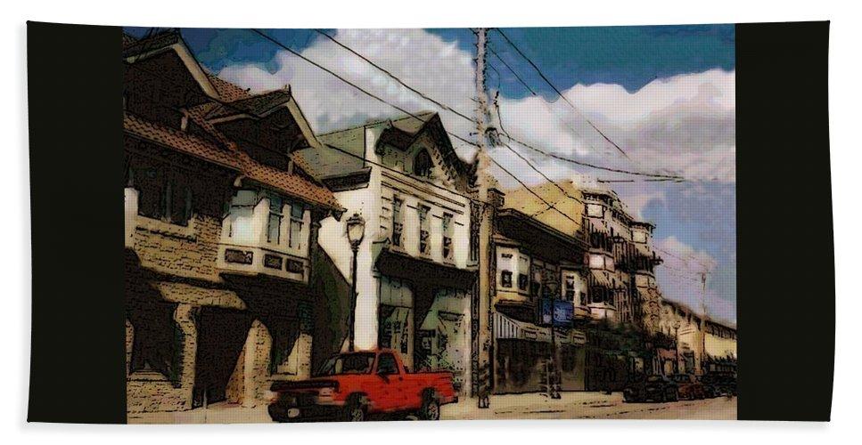 Brady Street Bath Towel featuring the photograph Brady Street Scene by Anita Burgermeister