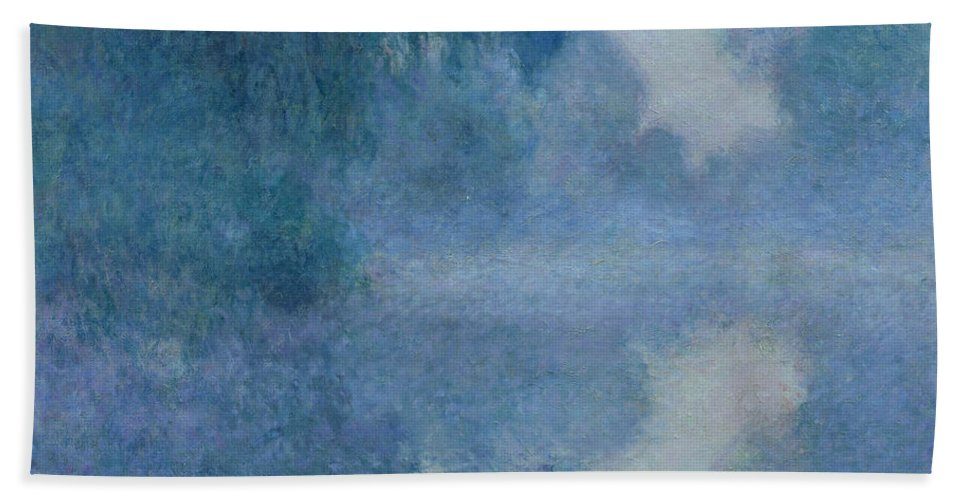 Impressionist; River; Reflection; Fog; Foggy; Misty; Mist; Branch; Seine; Giverny; Claude Monet; Monet; Tree; Trees Bath Towel featuring the painting Branch of the Seine near Giverny by Claude Monet