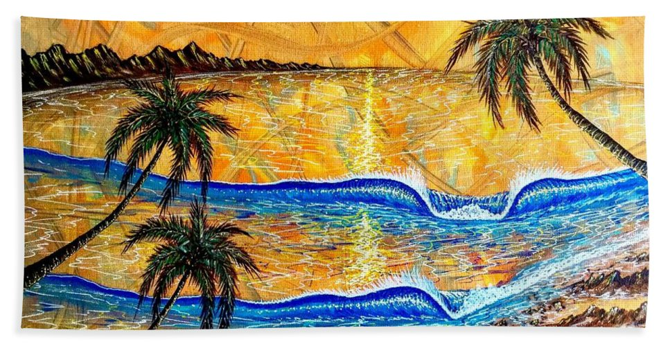 Sunset Bath Towel featuring the painting Breathe In The Moment 1 by Paul Carter