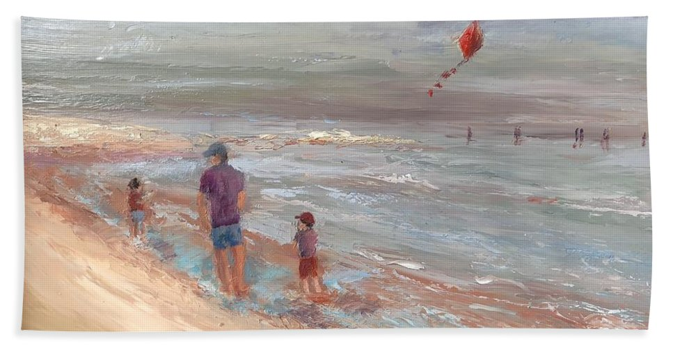 Beach Bath Sheet featuring the painting Breezy by Leslie Dobbins