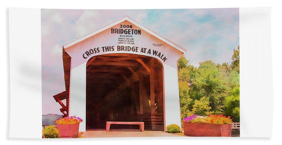 Bridgeton Hand Towel featuring the photograph Bridgeton Covered Bridge by Margie Wildblood