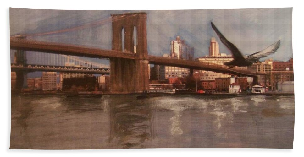 Brooklyn Bridge Bath Sheet featuring the painting Brooklyn Bridge by Anita Burgermeister