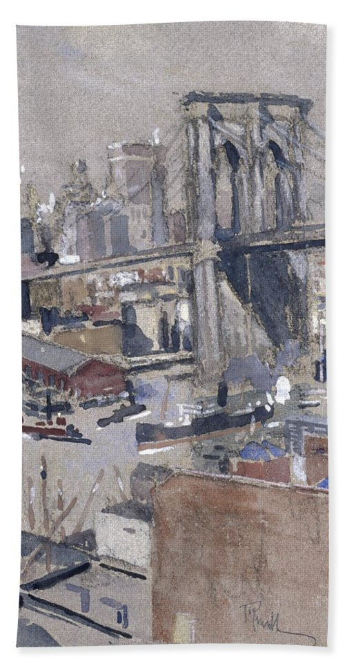 Joseph Pennell (american Bath Sheet featuring the painting Brooklyn Bridge by Joseph Pennell
