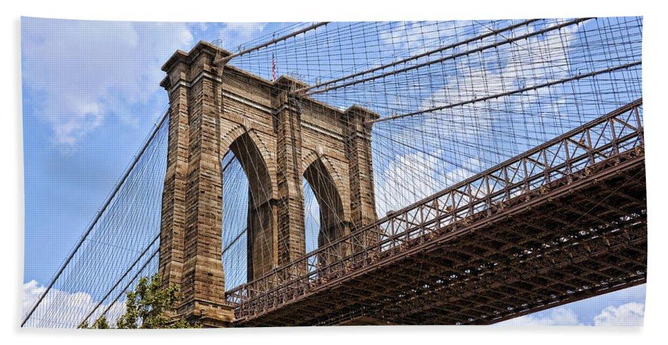 Bridge Bath Sheet featuring the photograph Brooklyn Bridge Ny by Kelley King
