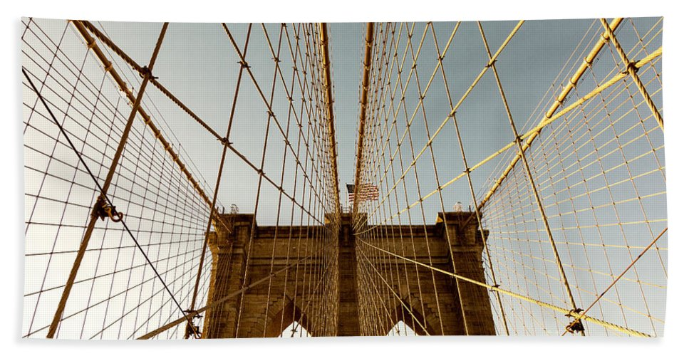 Brooklyn Bridge Hand Towel featuring the photograph Brooklyn Bridge Wires by Alissa Beth Photography