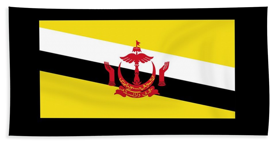 Banner Bath Sheet featuring the digital art Brunei Flag by Frederick Holiday