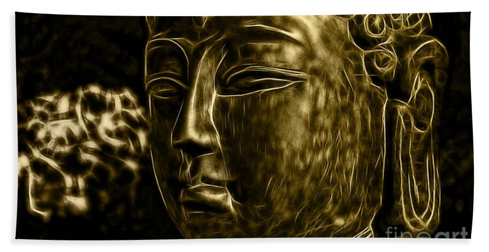 Buddah Bath Sheet featuring the mixed media Buddah Collection by Marvin Blaine