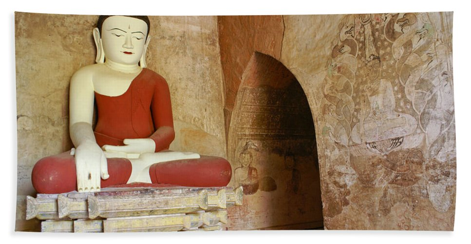 Buddha Hand Towel featuring the photograph Buddha In A Niche by Michele Burgess