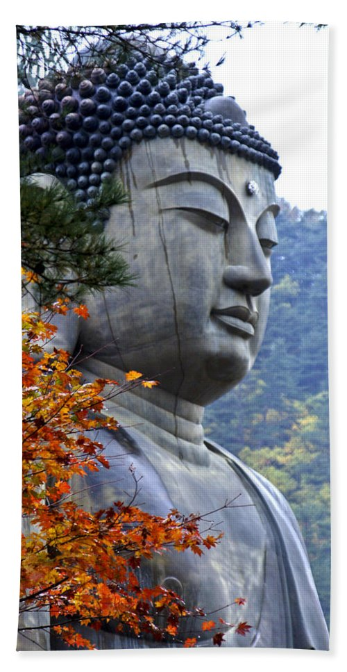 Buddha Hand Towel featuring the photograph Buddha In Autumn by Michele Burgess