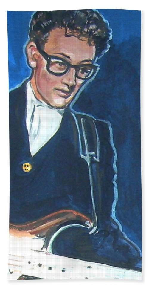 Buddy Holly Hand Towel featuring the painting Buddy Holly by Bryan Bustard