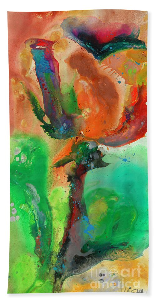Floral Bath Sheet featuring the painting Budlite by Kasha Ritter