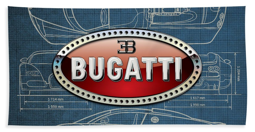 �wheels Of Fortune� By Serge Averbukh Bath Towel featuring the photograph Bugatti 3 D Badge over Bugatti Veyron Grand Sport Blueprint by Serge Averbukh