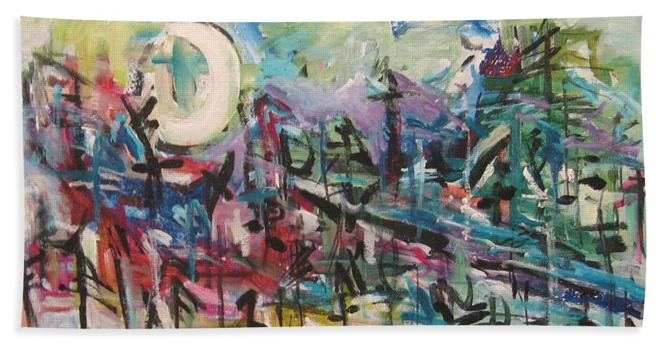 Abstract Paintings Bath Towel featuring the painting Bummer Flat2 by Seon-Jeong Kim
