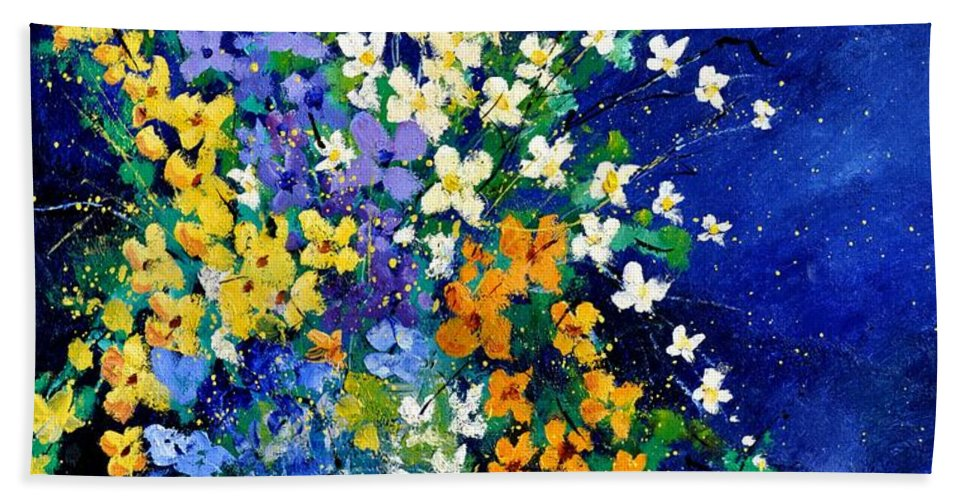 Flowers Hand Towel featuring the painting Bunch 0140 by Pol Ledent