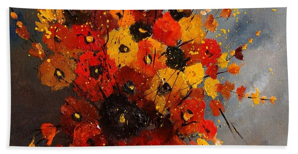 Flowers Bath Towel featuring the painting Bunch 0708 by Pol Ledent