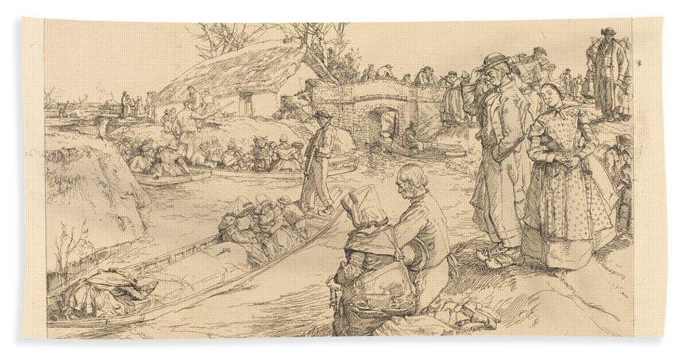 Hand Towel featuring the drawing Burial In The Vendeen Marsh (un Enterrement Dans Le Marais Vendeen) by Auguste Lep?re