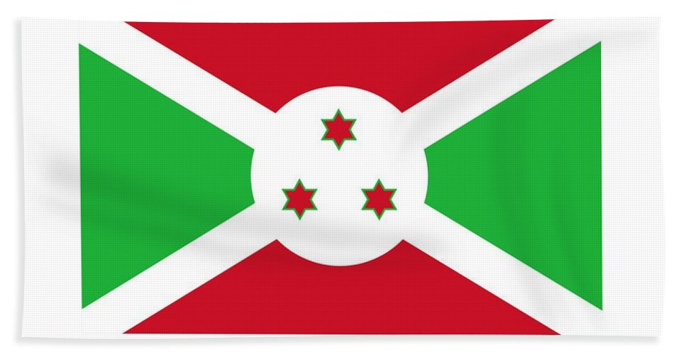 Banner Hand Towel featuring the digital art Burundi Flag by Frederick Holiday