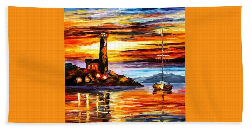 Afremov Hand Towel featuring the painting By The Lighthouse by Leonid Afremov