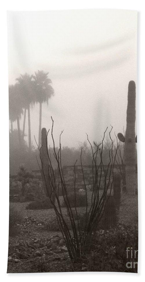 Cactus Fog Desert Saguaro Palm Tree Ocotillo Landscape Scene Scenery Scottsdale Phoenix Arizona Hand Towel featuring the photograph Cactus Fog by Heather Kirk