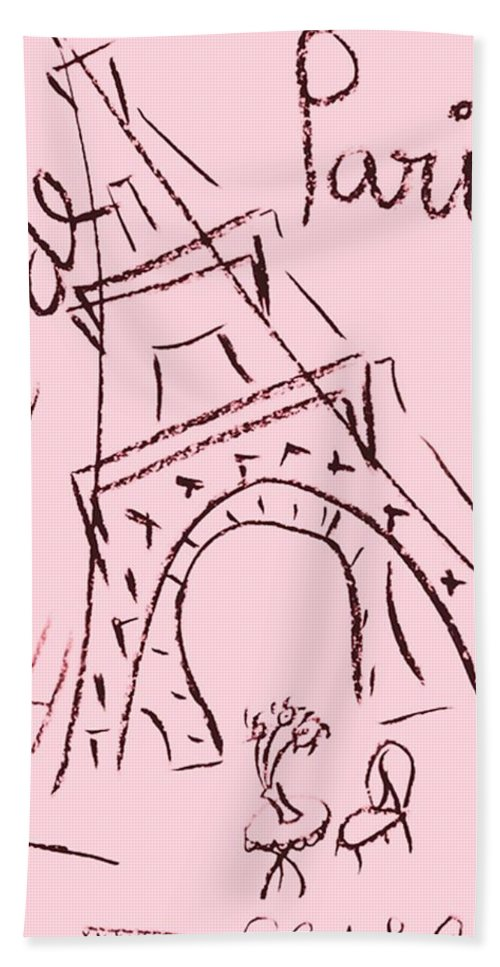 Eiffel Tower. Hand Towel featuring the digital art Cafe De Paris by Coco de la Garrigue