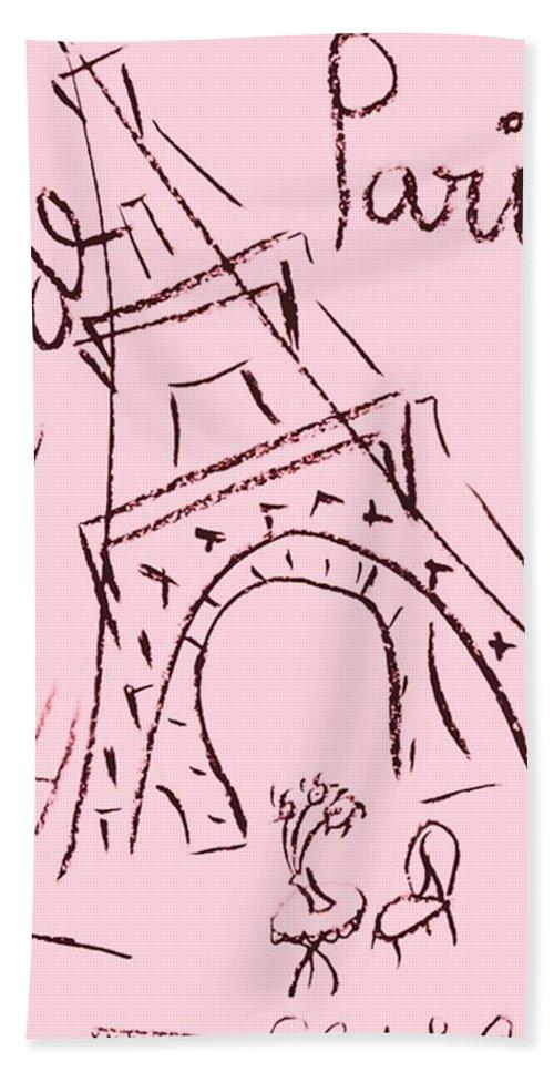 Eiffel Tower. Bath Sheet featuring the digital art Cafe De Paris by Coco de la Garrigue