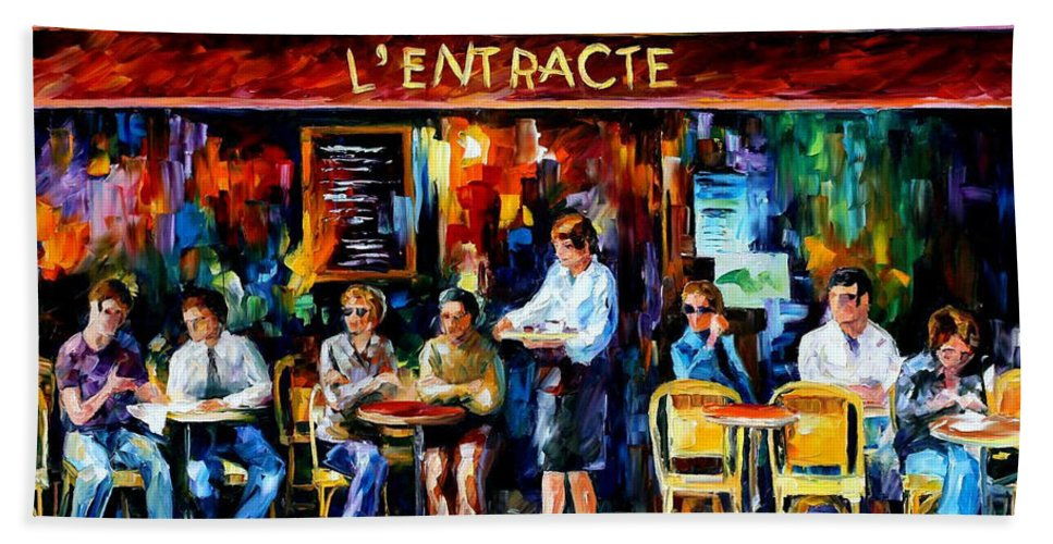 Afremov Bath Sheet featuring the painting Cafe In Paris by Leonid Afremov