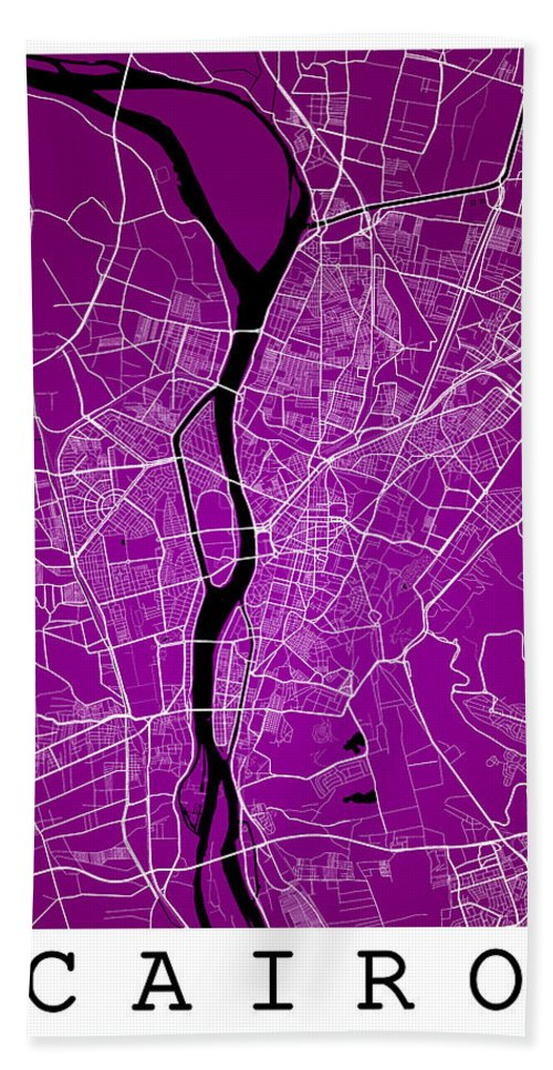 Road Map Hand Towel featuring the digital art Cairo Street Map - Cairo Egypt Road Map Art On Colored Backgroun by Jurq Studio