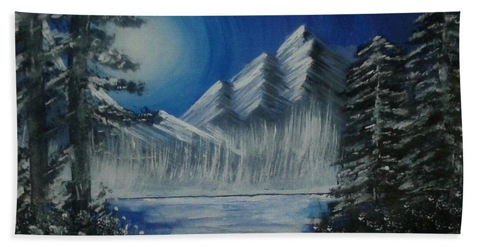 Landscape Bath Sheet featuring the painting Calmness Under Moon by Monika Dahal