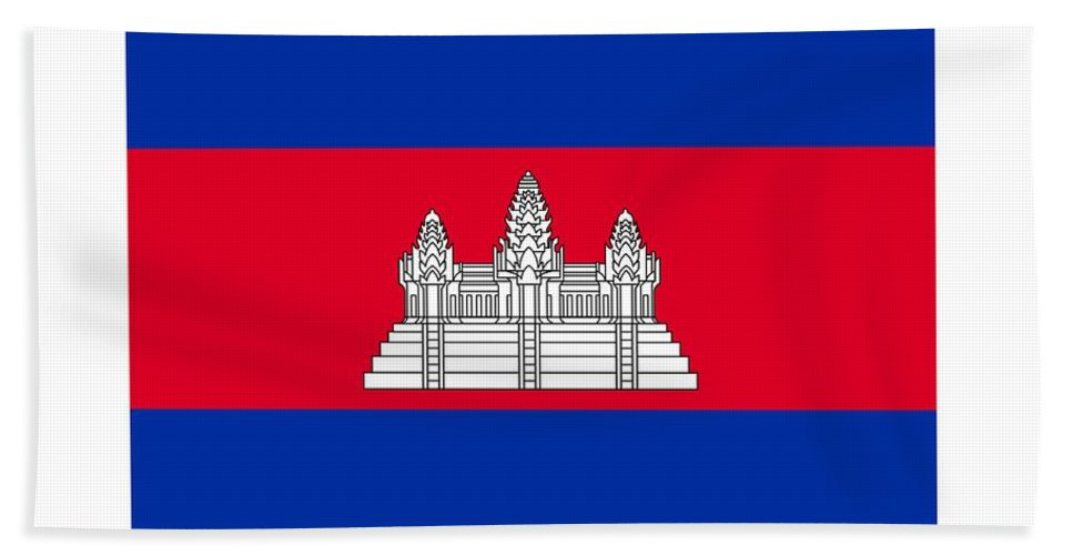 Banner Hand Towel featuring the digital art Cambodia Flag by Frederick Holiday