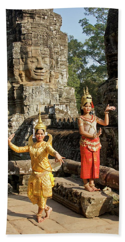 Asia Hand Towel featuring the photograph Cambodian Dancers At Angkor Thom by Michele Burgess