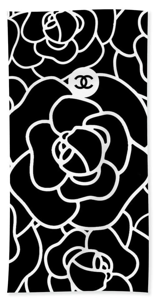 ea2b186d4aed Chanel Hand Towel featuring the digital art Camellia Cc by Tres Chic