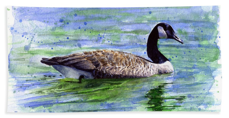 Bird Bath Towel featuring the painting Canada Goose by John D Benson