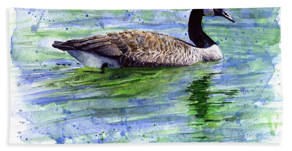 Bird Hand Towel featuring the painting Canada Goose by John D Benson