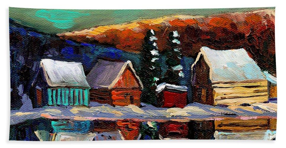 Winter Bath Sheet featuring the painting Canadian Art Laurentian Landscape Quebec Winter Scene by Carole Spandau