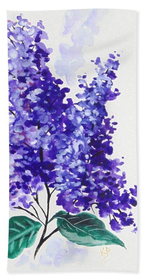 Floral Bath Sheet featuring the painting Lilac Blossom 2 by Karin Dawn Kelshall- Best