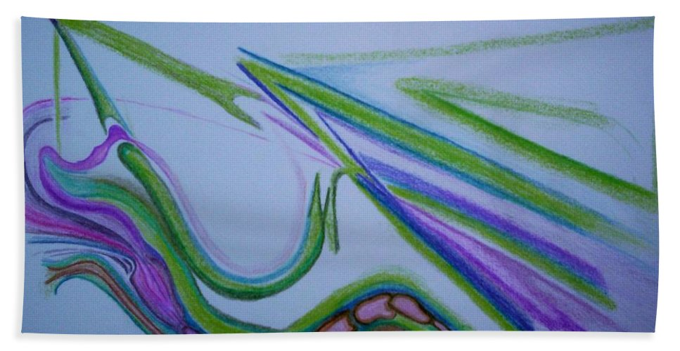Abstract Hand Towel featuring the drawing Canal by Suzanne Udell Levinger