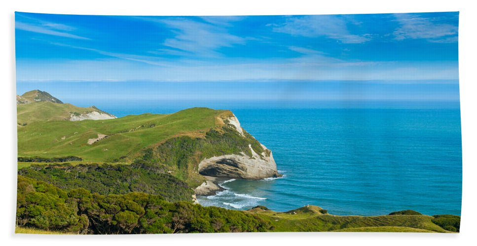 Background Bath Sheet featuring the photograph Cape Farewell Able Tasman National Park by U Schade