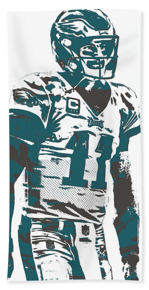 Carson Wentz Bath Towel featuring the mixed media Carson Wentz Philadelphia Eagles Pixel Art 6 by Joe Hamilton