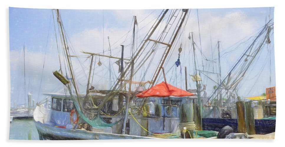 Shrimp Boat Hand Towel featuring the photograph Catch Of The Day by Darla Rae Norwood