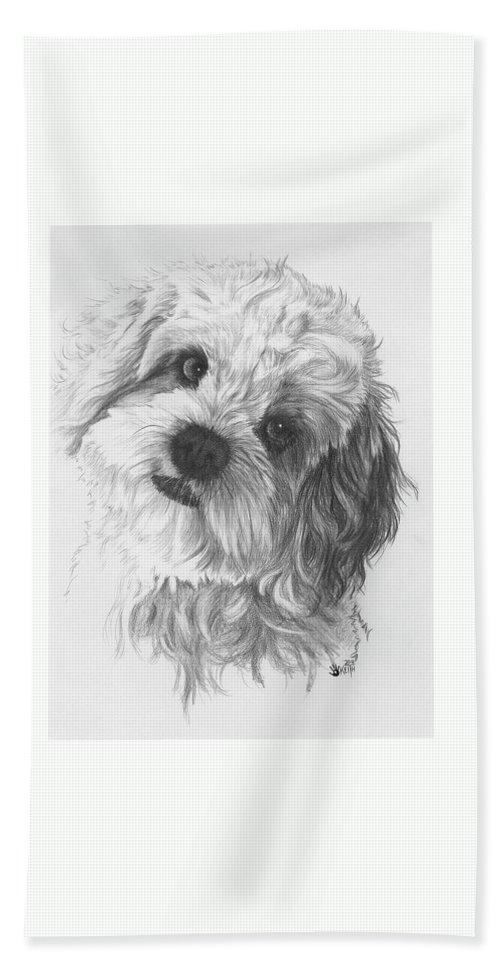 Designer Dog Bath Sheet featuring the drawing Cava-chon by Barbara Keith