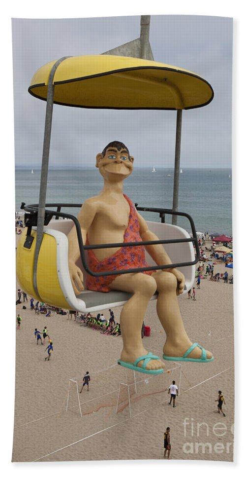 Santa Cruz Boardwalk Bath Sheet featuring the photograph Caveman Above Beach Santa Cruz Boardwalk by Jason O Watson
