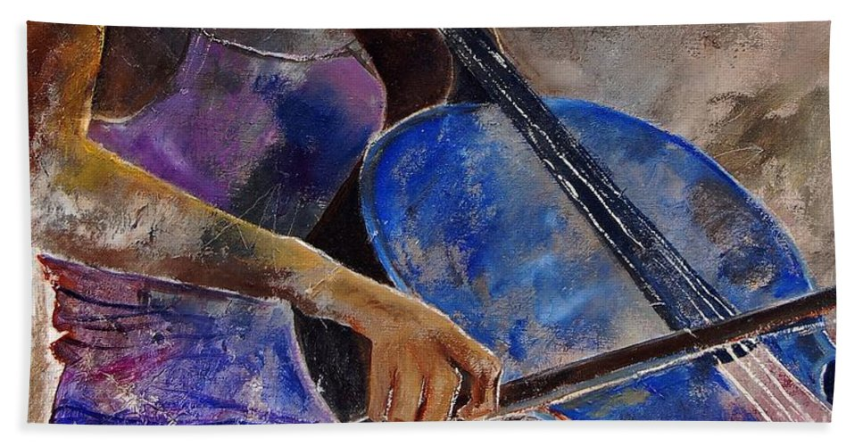 Music Bath Sheet featuring the painting Cello Player by Pol Ledent