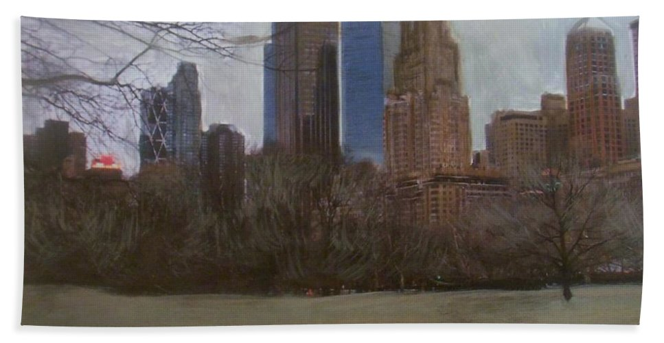 Central Park Bath Towel featuring the painting Central Park by Anita Burgermeister