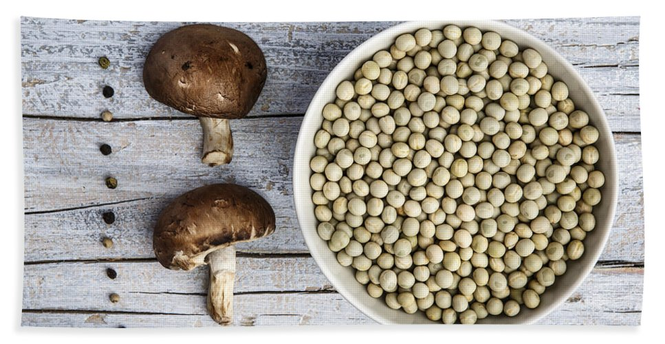 Pea Hand Towel featuring the photograph Champignons, Peas And Pepper by Nailia Schwarz