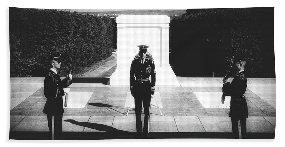 Changing Of The Guard Hand Towel featuring the photograph Changing Of The Guard At The Tomb Of The Unknowns At Arlington by Library Of Congress